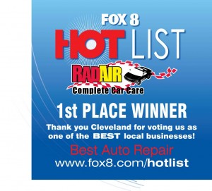 Fox 8 Hot List - Rad Air is the 1st Place Winner