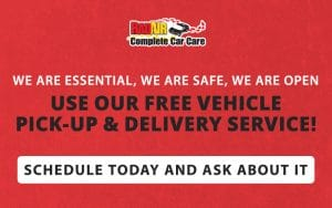 We are open! Use our Free Vehicle Pick-Up and Delivery Service!