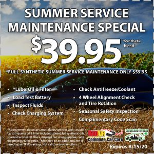 Rad Air Summer Service Maintenance Special August 2020 Coupon