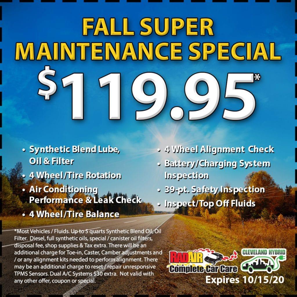 Rad Air Fall Super Maintenance Special October 2020 Coupon