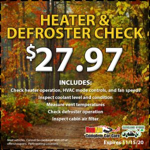 Heater & Defroster Check Deal