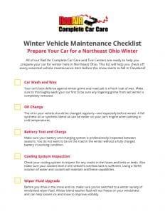 Winter Vehicle Maintenance Checklist