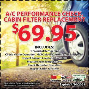 $69.95 A/C performance check and cabin filter replacement