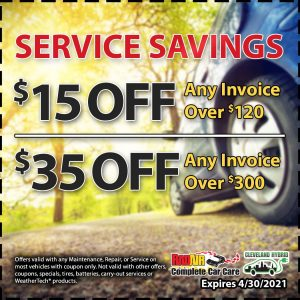 Service savings coupon $15 or $35 off