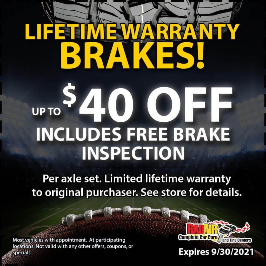 Lifetime Warranty Brakes Coupon